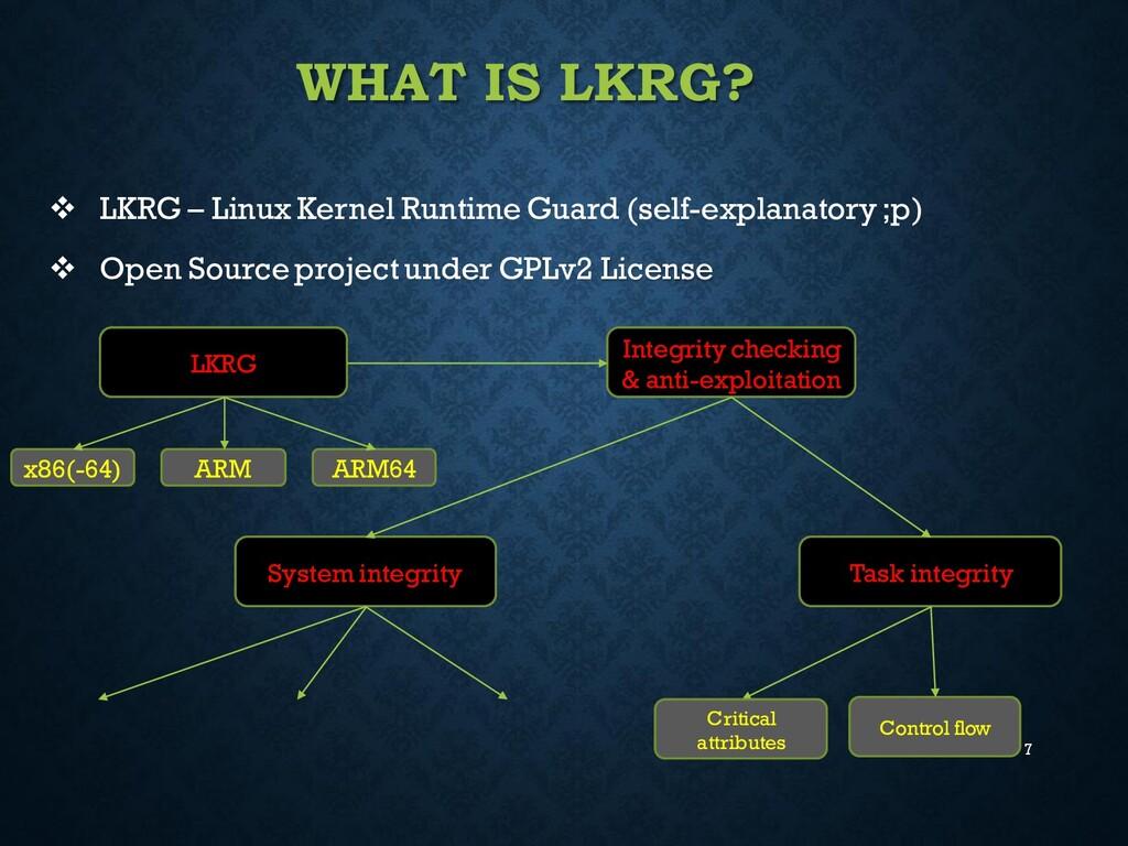 7 WHAT IS LKRG? ❖ LKRG – Linux Kernel Runtime G...