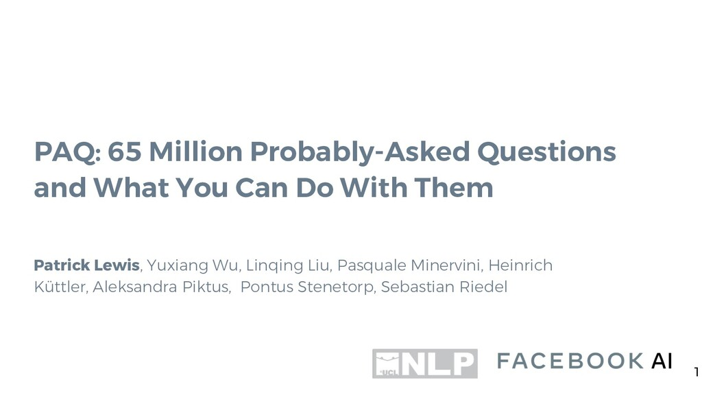 PAQ: 65 Million Probably-Asked Questions and Wh...