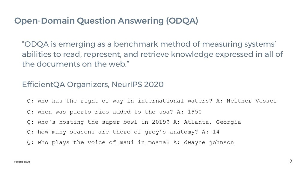 """Facebook AI """"ODQA is emerging as a benchmark me..."""