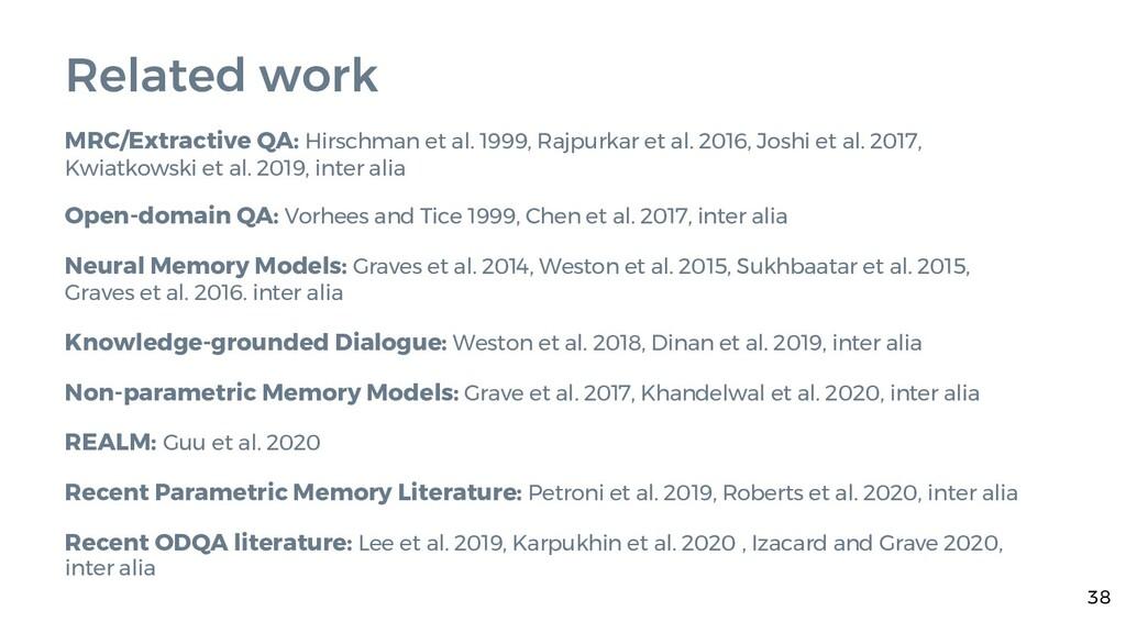 Related work MRC/Extractive QA: Hirschman et al...