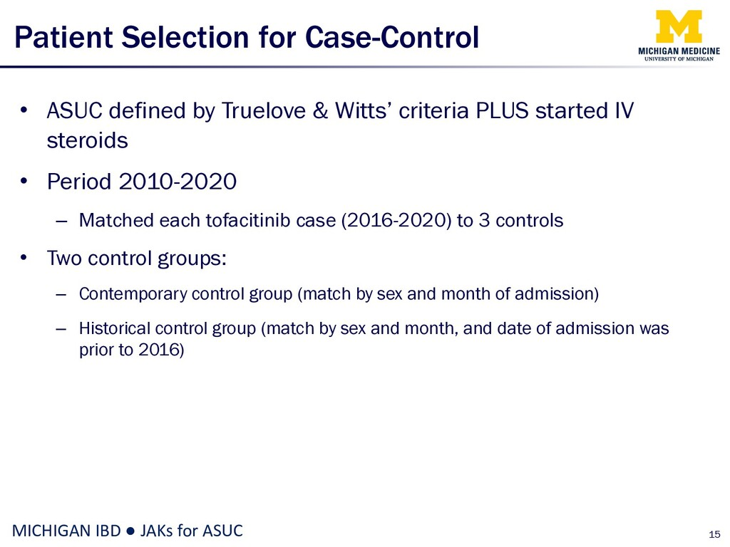 Patient Selection for Case-Control • ASUC defin...