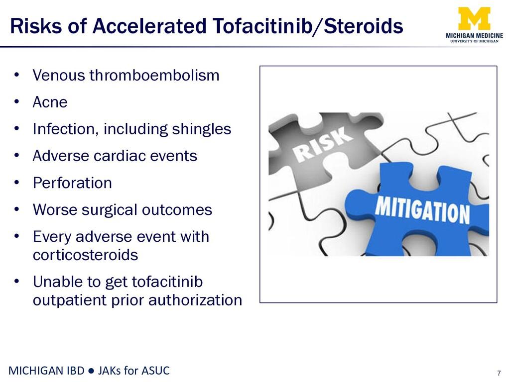 Risks of Accelerated Tofacitinib/Steroids • Ven...