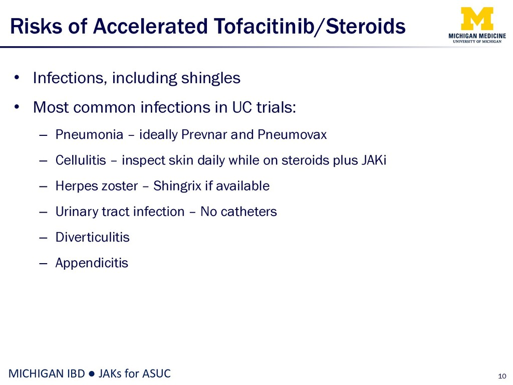 Risks of Accelerated Tofacitinib/Steroids • Inf...