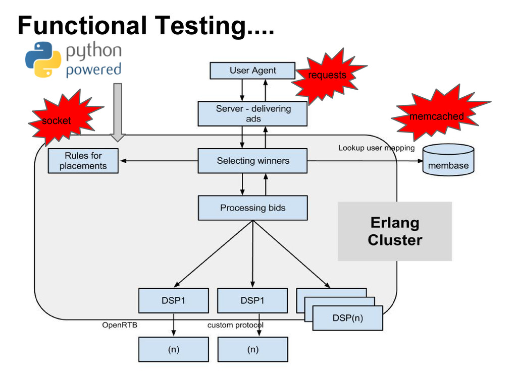 Functional Testing.... requests socket memcached