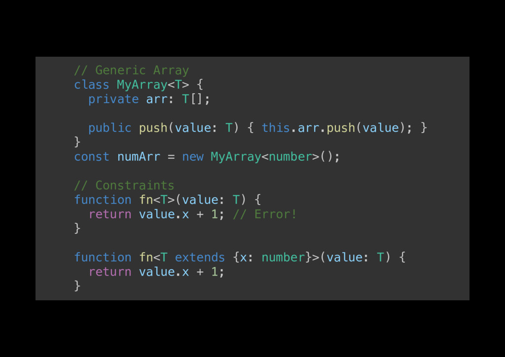 // Generic Array! class MyArray<T> {! private a...