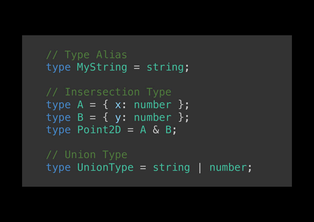// Type Alias! type MyString = string;! ! // In...