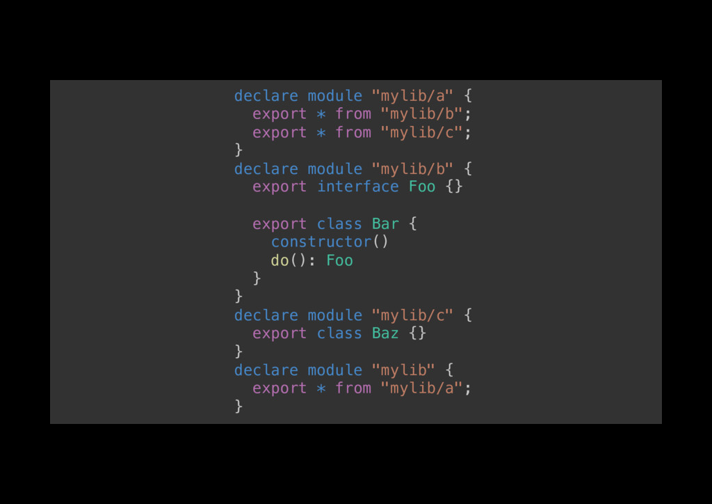 "declare module ""mylib/a"" {! export * from ""myli..."