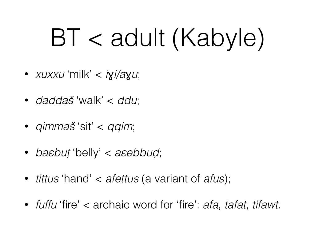 BT < adult (Kabyle) • xuxxu 'milk' < iɣi/aɣu; •...
