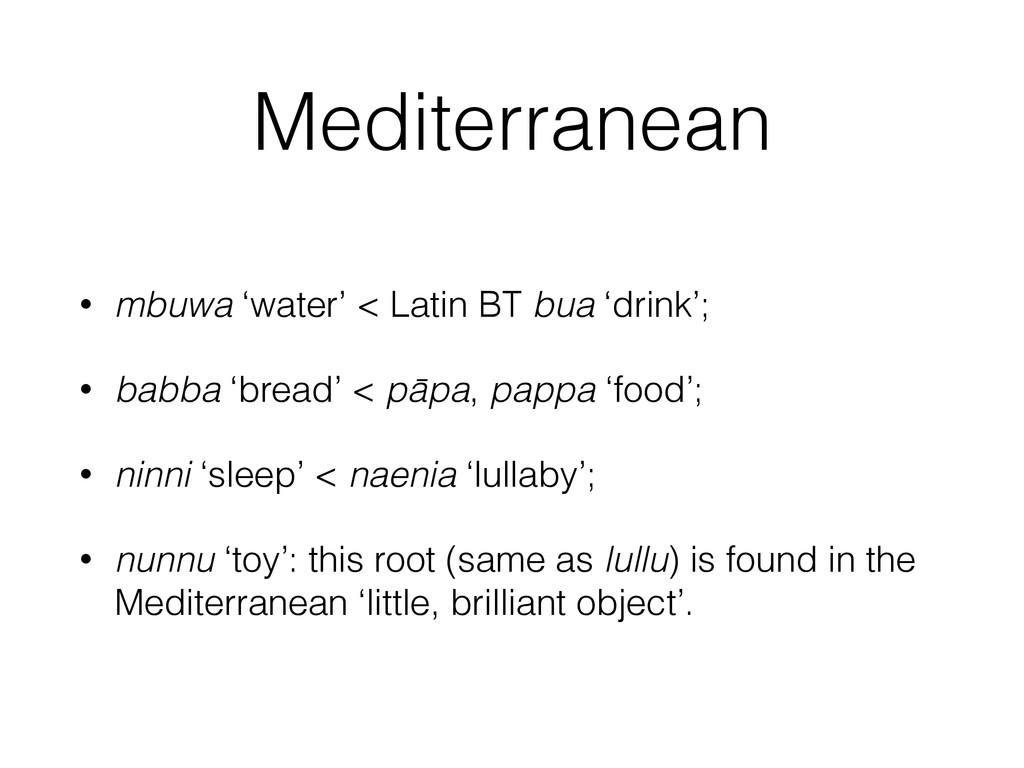 Mediterranean • mbuwa 'water' < Latin BT bua 'd...
