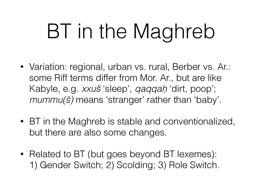 BT in the Maghreb • Variation: regional, urban ...