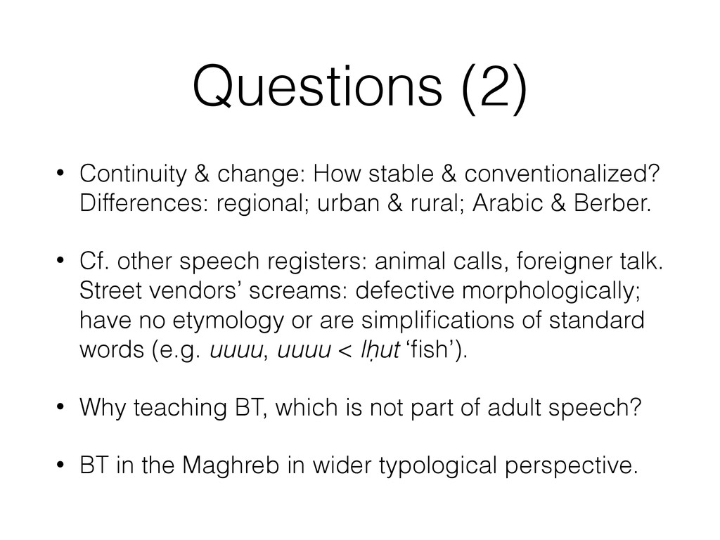 Questions (2) • Continuity & change: How stable...