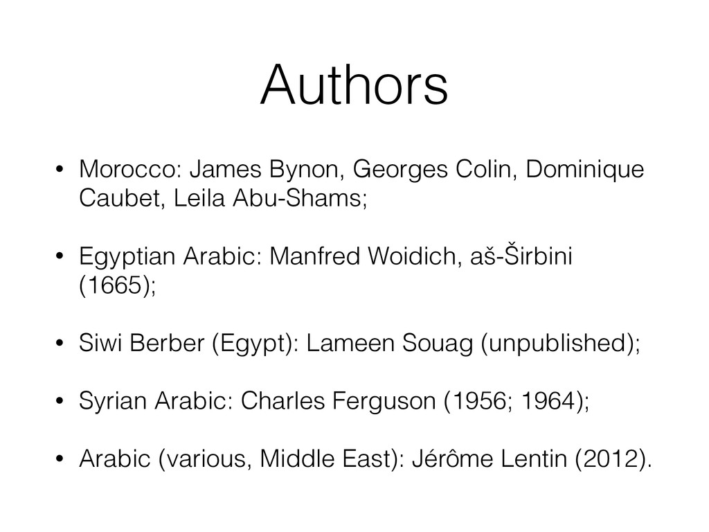 Authors • Morocco: James Bynon, Georges Colin, ...