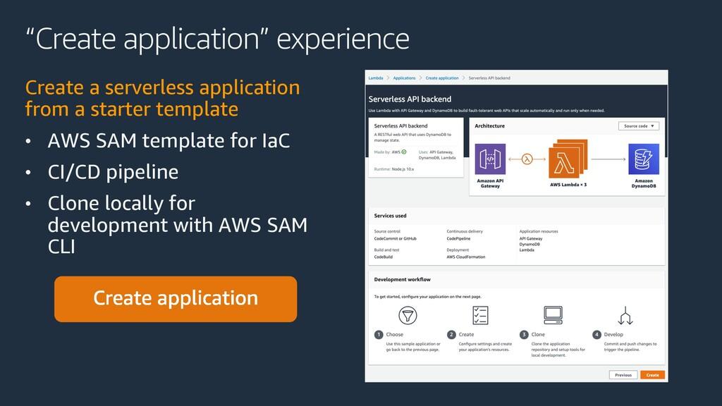 """Create application"" experience Create a server..."