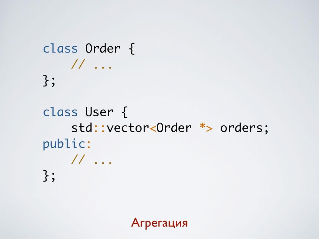 class Order { // ... }; class User { std::vecto...