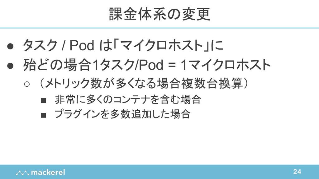 24 ● タスク / Pod は「マイクロホスト」に ● 殆どの場合1タスク/Pod = 1マ...