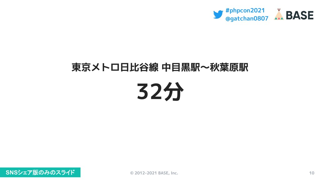 © 2012-2021 BASE, Inc. 10 #phpcon2021 @gatchan0...