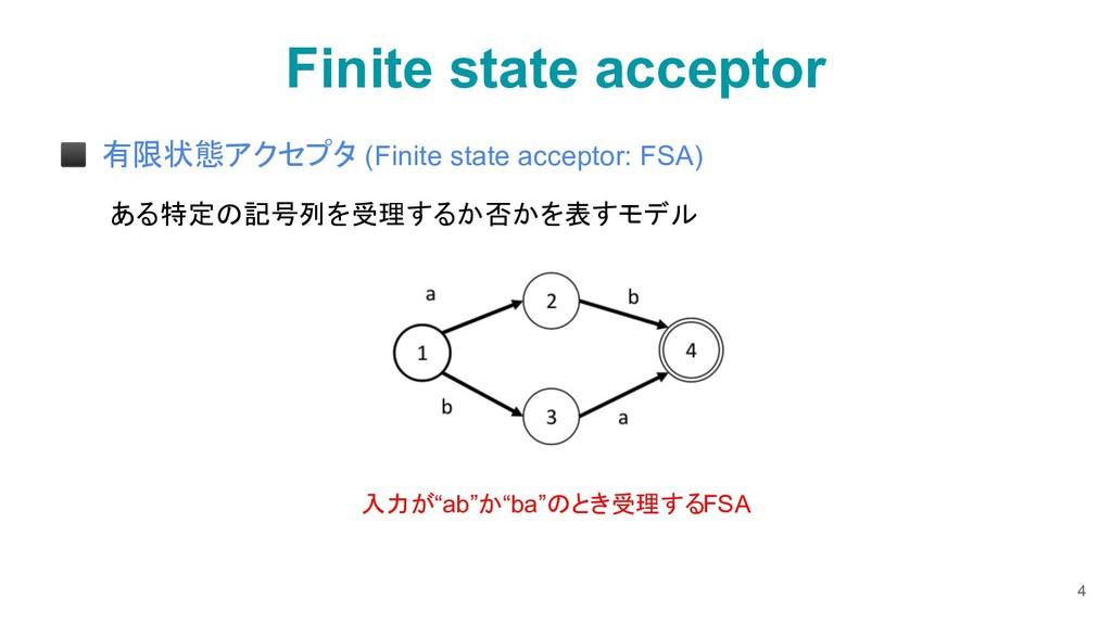 Finite state acceptor ◼ 有限状態アクセプタ (Finite state...