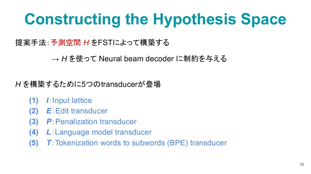 Constructing the Hypothesis Space 提案手法:予測空間 H を...