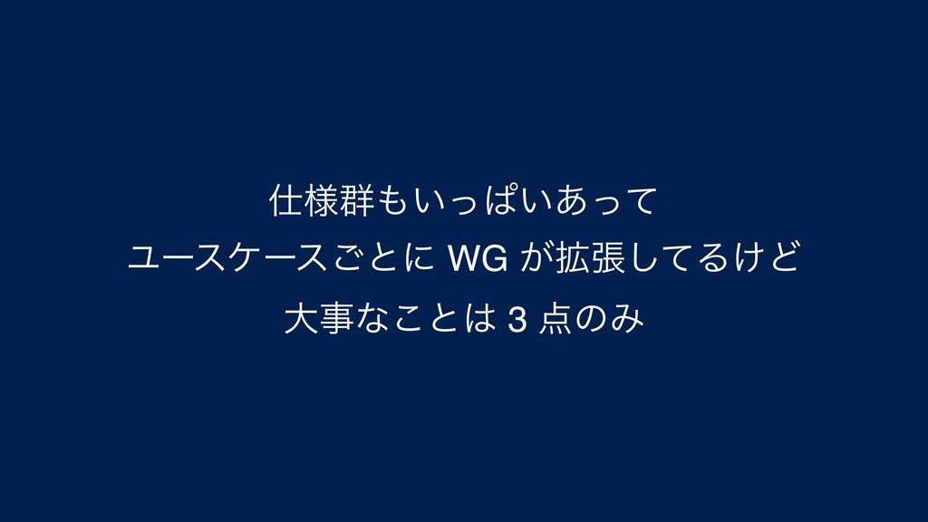 ༷܈͍ͬͺ͍͋ͬͯ Ϣʔεέʔε͝ͱʹ WG ͕֦ுͯ͠Δ͚Ͳ େͳ͜ͱ 3 ͷΈ