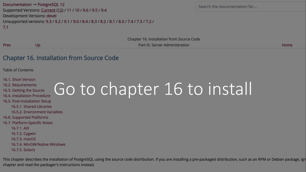 Go to chapter 16 to install