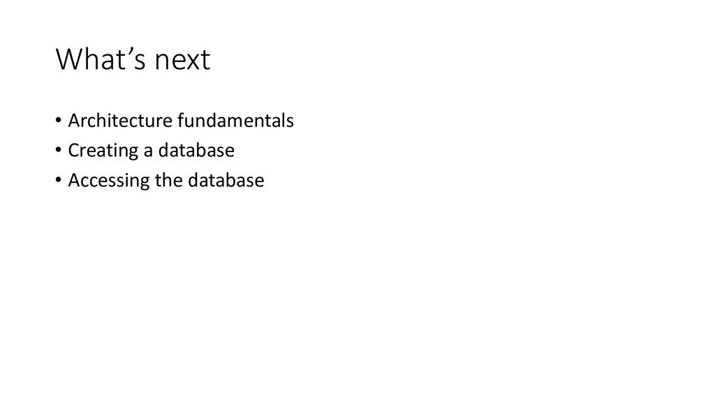 What's next • Architecture fundamentals • Creat...
