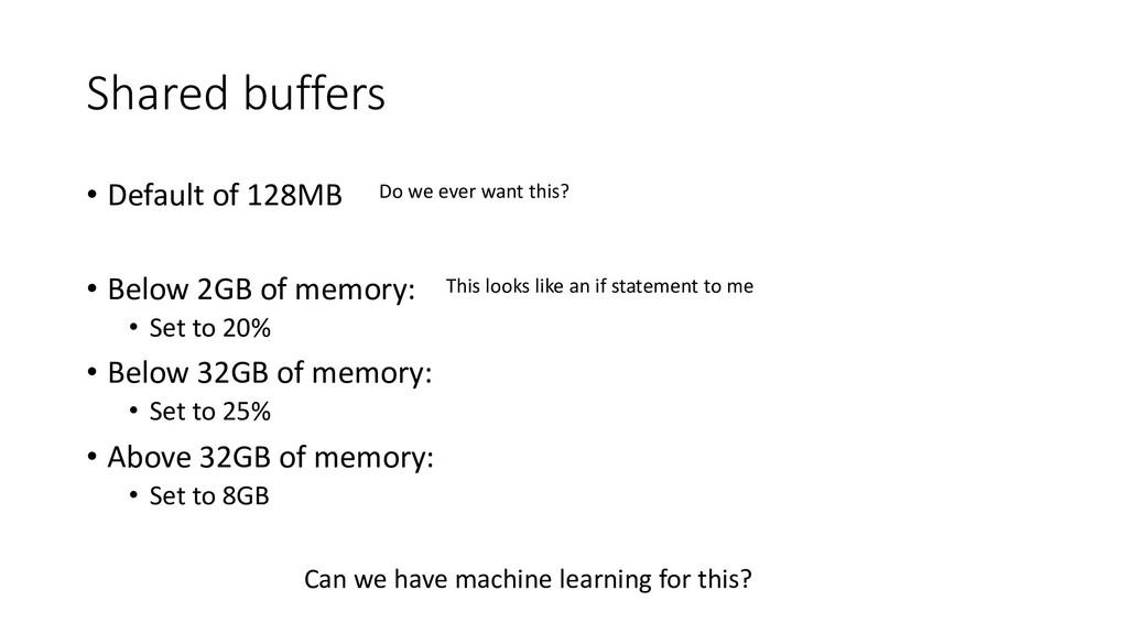 Shared buffers • Default of 128MB • Below 2GB o...