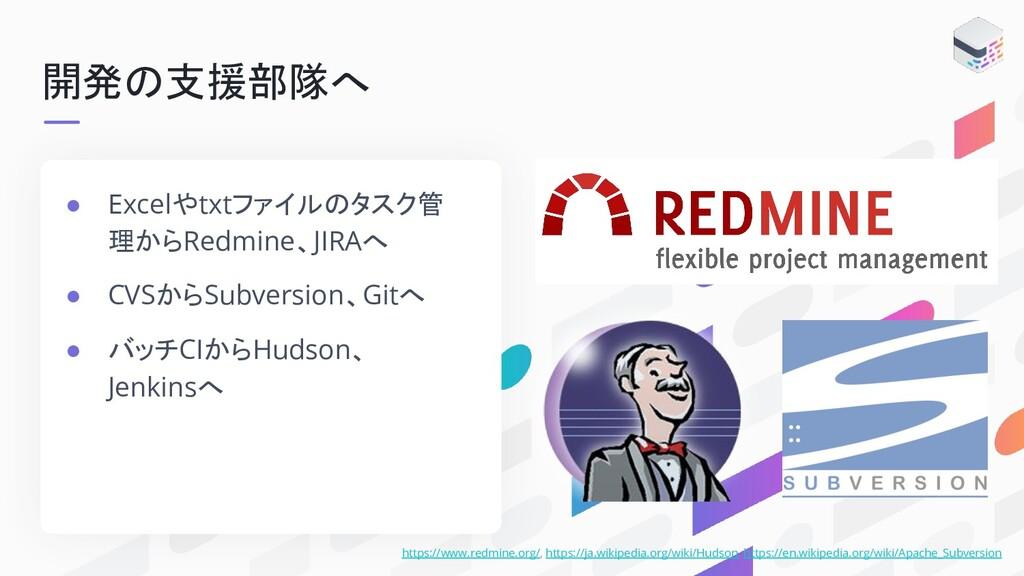 開発の支援部隊へ https://www.redmine.org/, https://ja.w...
