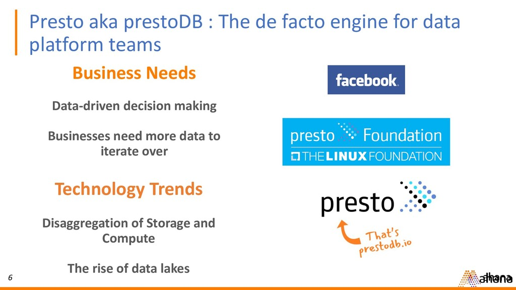 6 Presto aka prestoDB : The de facto engine for...