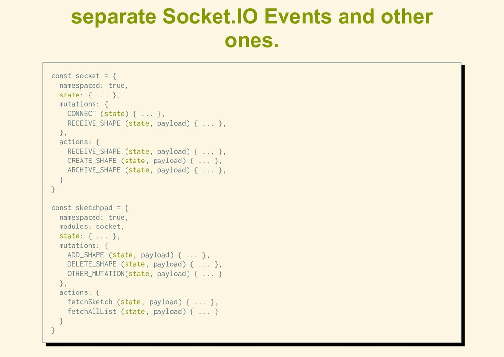 separate Socket.IO Events and other ones. const...