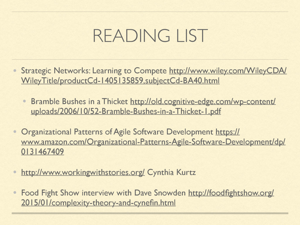 READING LIST • Strategic Networks: Learning to ...