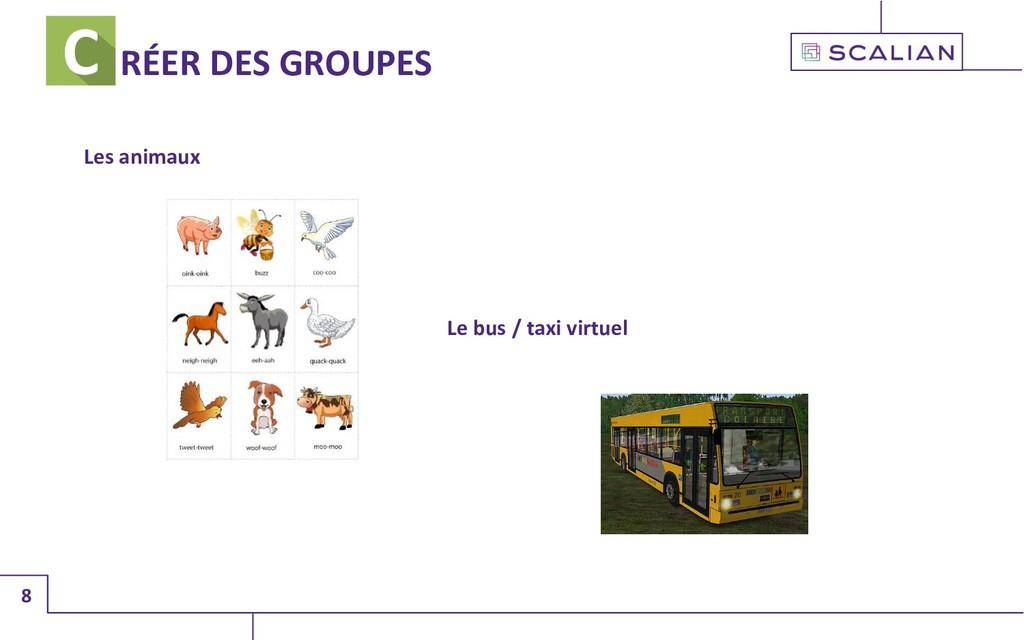 8 RÉER DES GROUPES Les animaux Le bus / taxi vi...