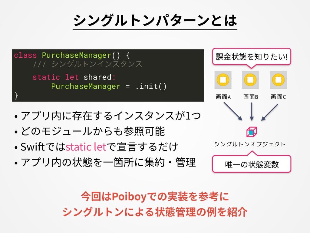シングルトンパターンとは • アプリ内に存在するインスタンスが1つ • どのモジュールからも参...