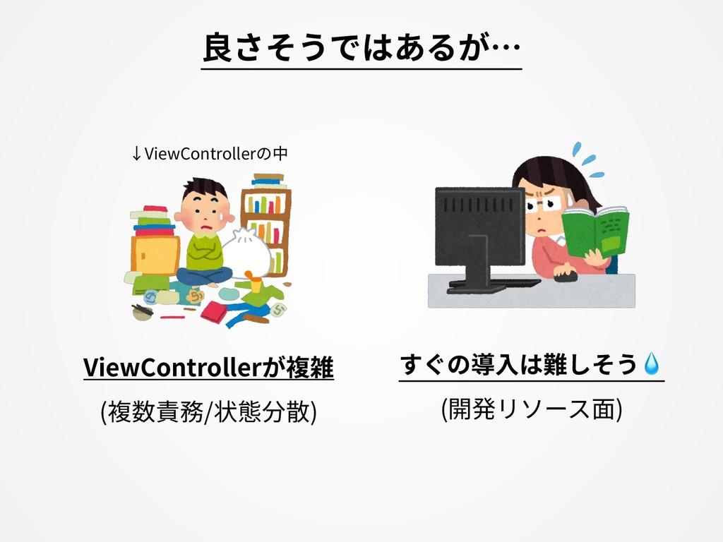 良さそうではあるが… すぐの導⼊は難しそう (開発リソース⾯) ViewControllerが...