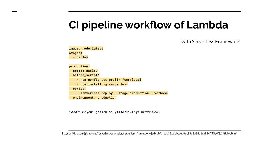 CI pipeline workflow of Lambda image: node:lates...