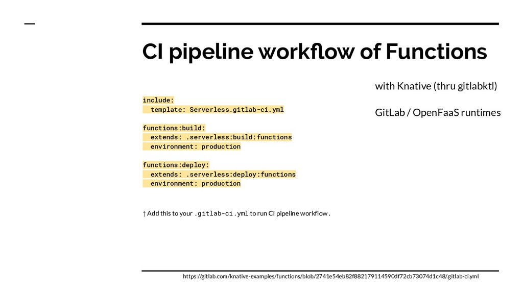CI pipeline workflow of Functions include: templ...