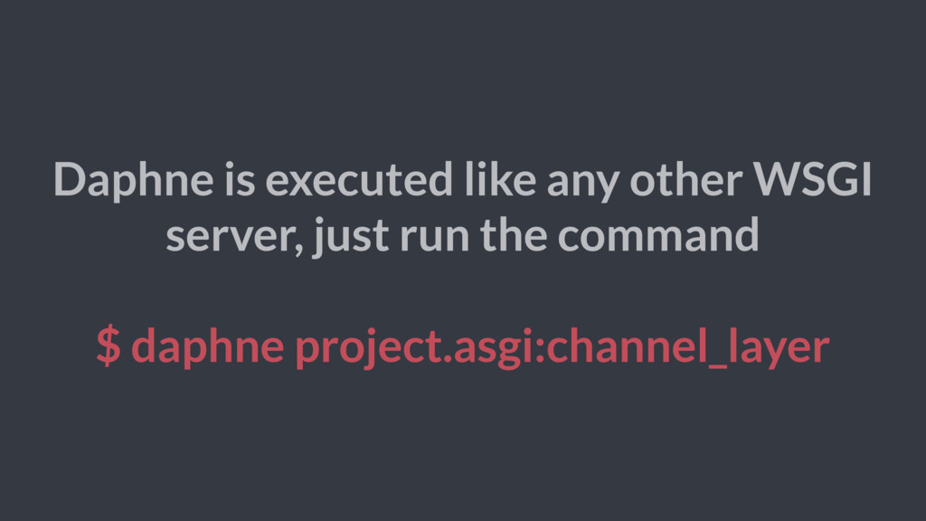 Daphne is executed like any other WSGI server, ...