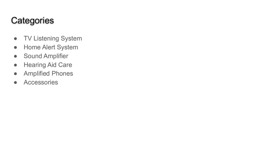 Categories ● TV Listening System ● Home Alert S...