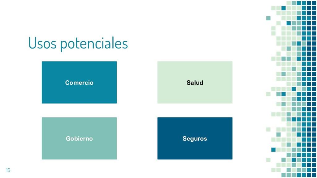 Usos potenciales 15 Comercio Salud Gobierno Seg...