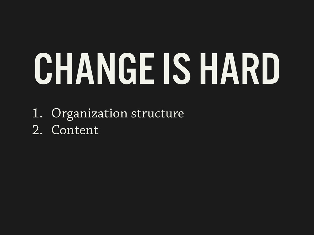 1. Organization structure 2. Content CHANGE IS ...