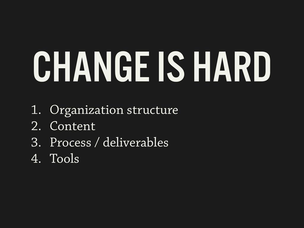 1. Organization structure 2. Content 3. Process...