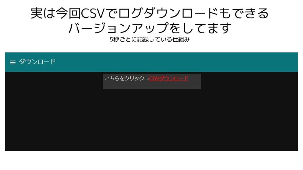 実は今回CSVでログダウンロードもできる バージョンアップをしてます 5秒ごとに記録している仕...