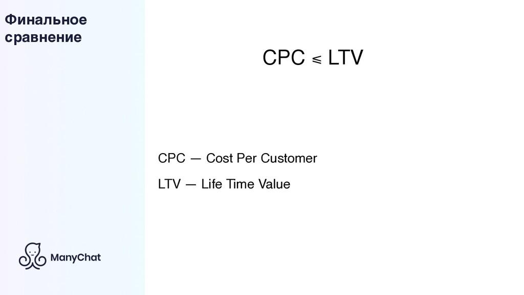 Финальное сравнение CPC ⩽ LTV CPC — Cost Per Cu...