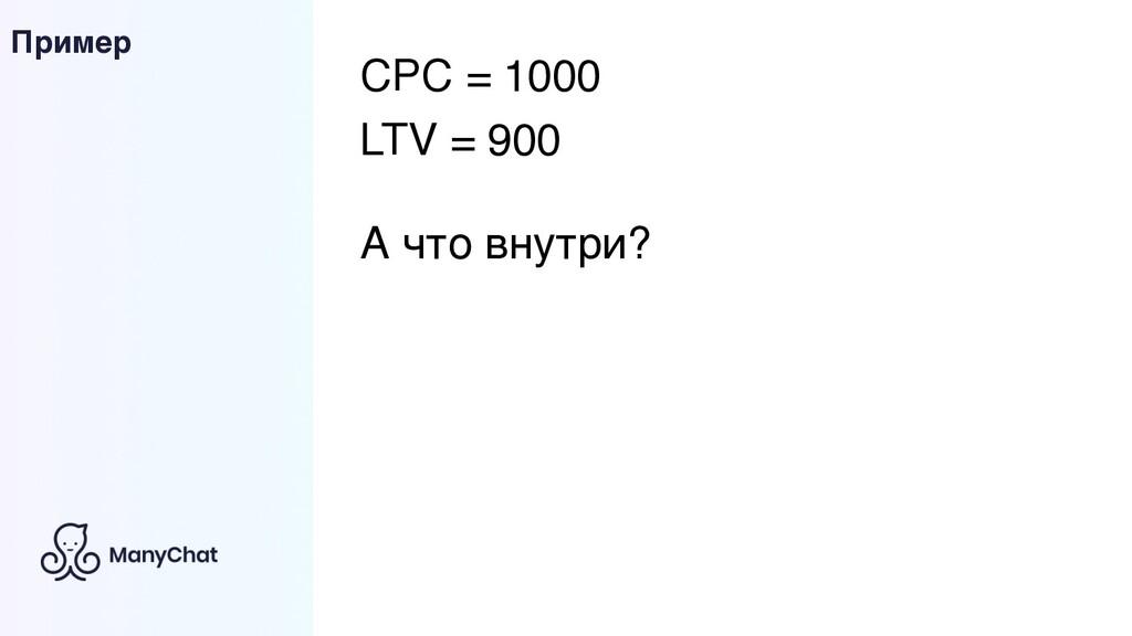 Пример CPC = 1000 LTV = 900 А что внутри?
