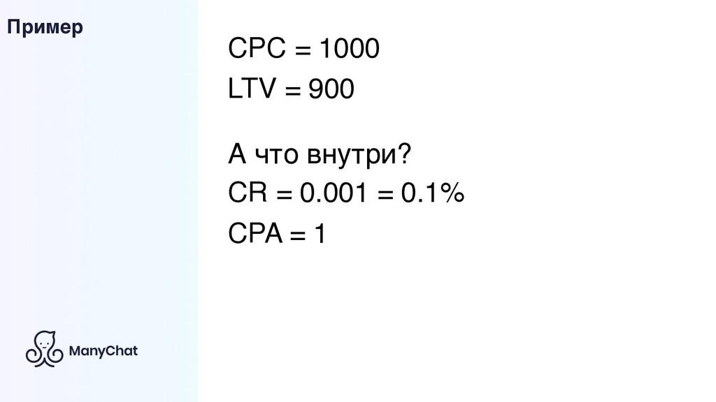 Пример CPC = 1000 LTV = 900 А что внутри? CR = ...