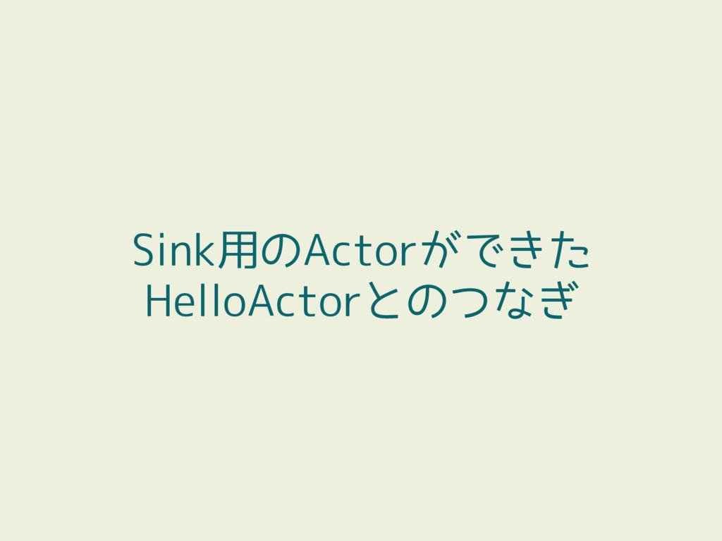 Sink用のActorができた HelloActorとのつなぎ