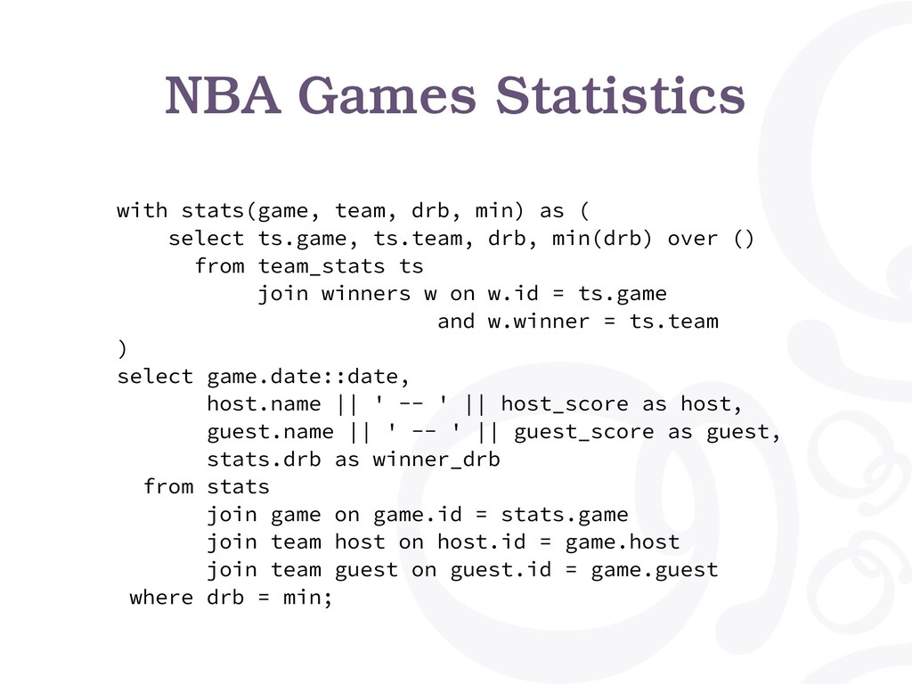 with stats(game, team, drb, min) as ( select ts...