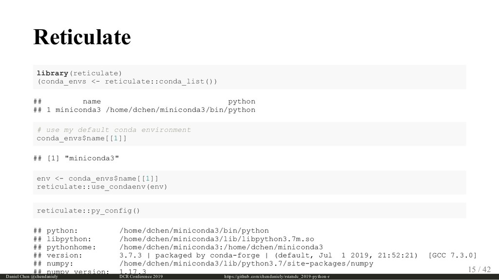 Reticulate library(reticulate) (conda_envs <- r...