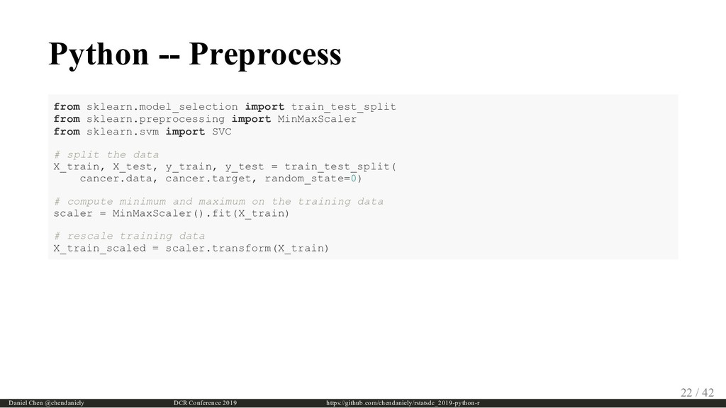 Python -- Preprocess from sklearn.model_selecti...