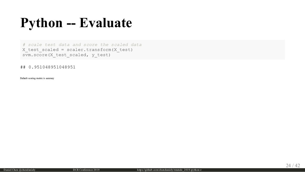 Python -- Evaluate # scale test data and score ...