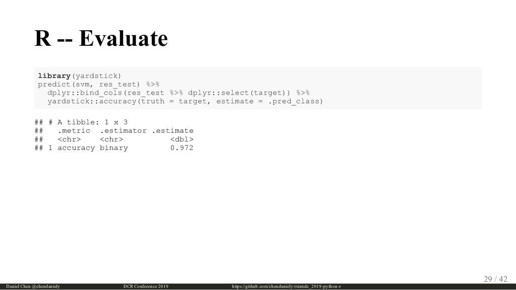 R -- Evaluate library(yardstick) predict(svm, r...